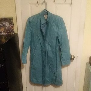 Beautiful Turquoise Leather Trench